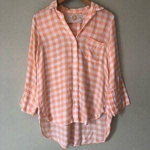 Bella Dahl Orange Plaid Button Down Shirt Top S